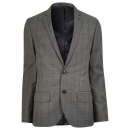 Mens River Island Grey check wool-blend slim jacket