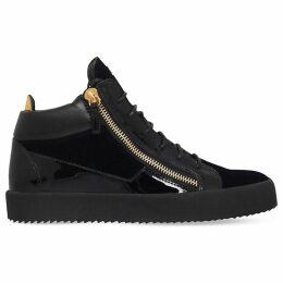 Giuseppe Zanotti Kriss velvet and patent leather trainers, Mens, Size: EUR 44 / 10 UK MEN, Navy