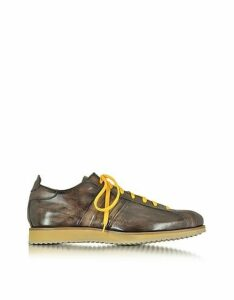 Forzieri Designer Shoes, Italian Handcrafted Coffee Washed Leather Sneaker