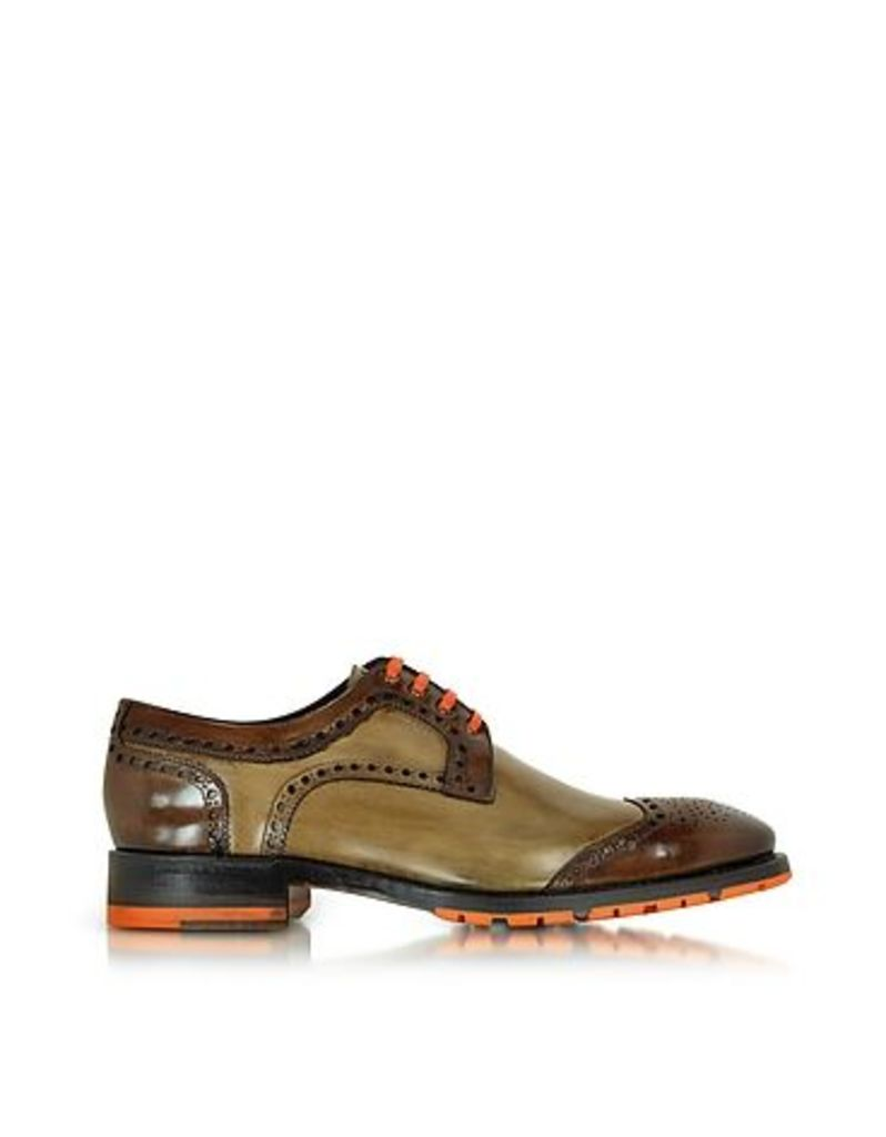 Forzieri Designer Shoes, Italian Handcrafted Chestnut and Light Brown Leather Oxford Shoe