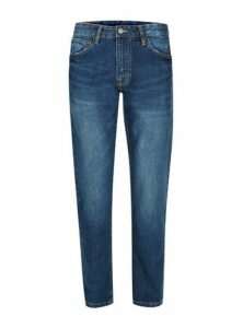 Mens Waven Blue Distressed Pocket Regular Fit Jeans*, Blue