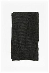 Reversible Waffle Knit Scarf - grey melange