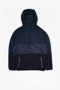 Mixed Nylon Run Hooded Jacket - marine blue