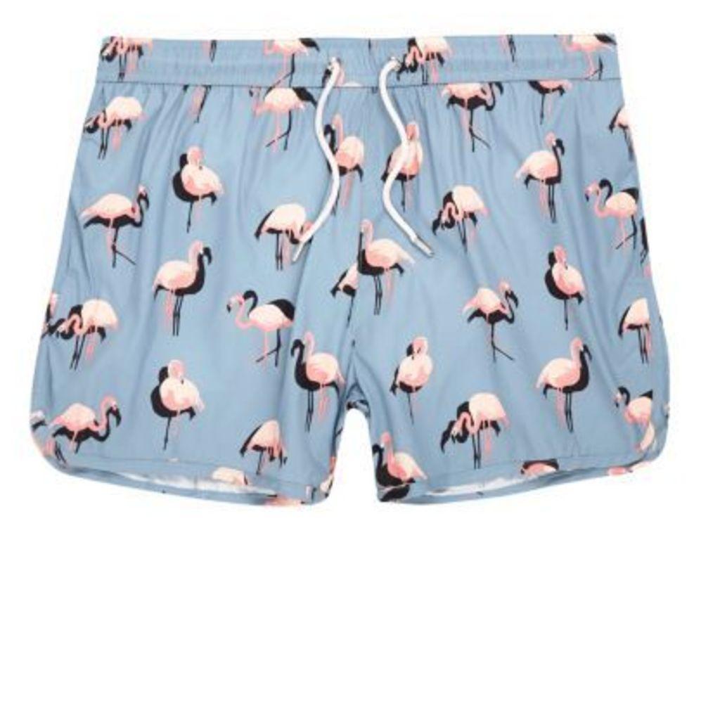96bf7d8ebf River Island Mens Blue flamingo print runner swim shorts by River ...