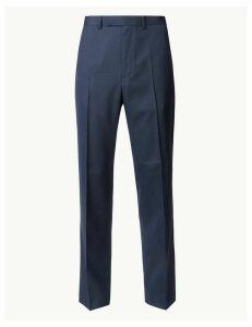 M&S Collection Indigo Textured Regular Fit Trousers