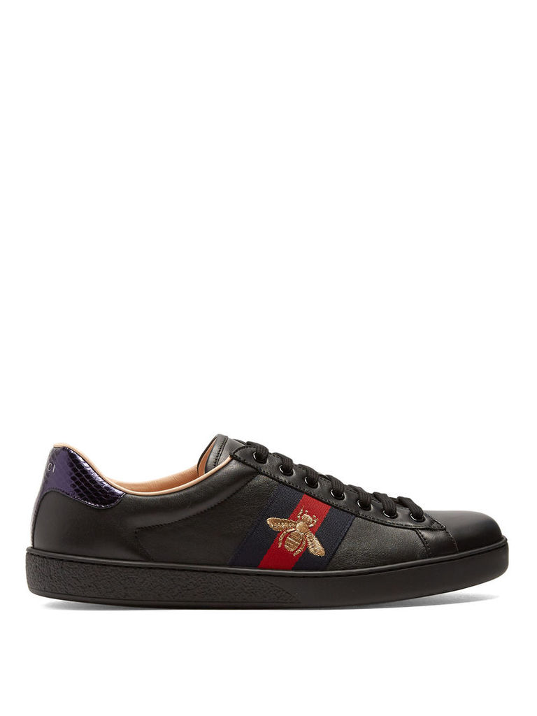 efc8bc8ab0f New Ace bee-embroidered leather trainers by GUCCI