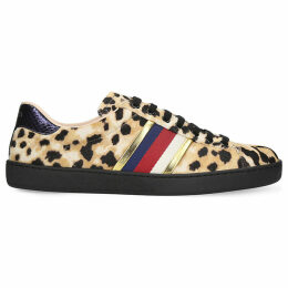 New Ace leopard-print pony-hair trainers