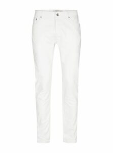 Mens Cream Off White Stretch Slim Jeans, Cream