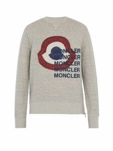 Moncler - Logo Print Cotton Blend Sweatshirt - Mens - Grey