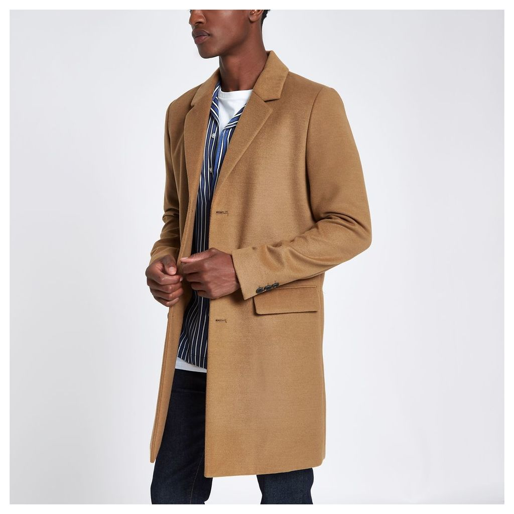 Mens Camel Smart Overcoat By River Island Snap Fashion Shop