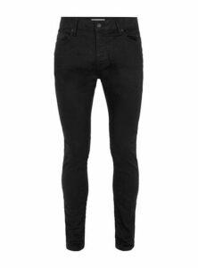 Mens Black Oil Coated Stretch Skinny Jeans, Black