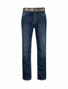 Mens Big & Tall Mid Blue Logan Straight Leg Jeans, Blue
