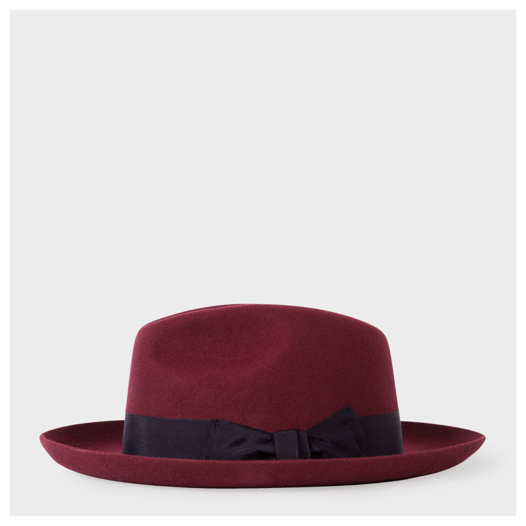 Men s Burgundy  Mayfair  Wool Fedora Hat by Paul Smith  318dcf965bb7
