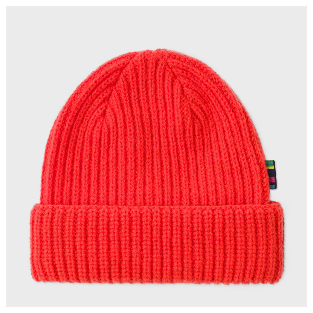 6de06d5127c Men s Neon Red Wool Beanie Hat by PS Paul Smith