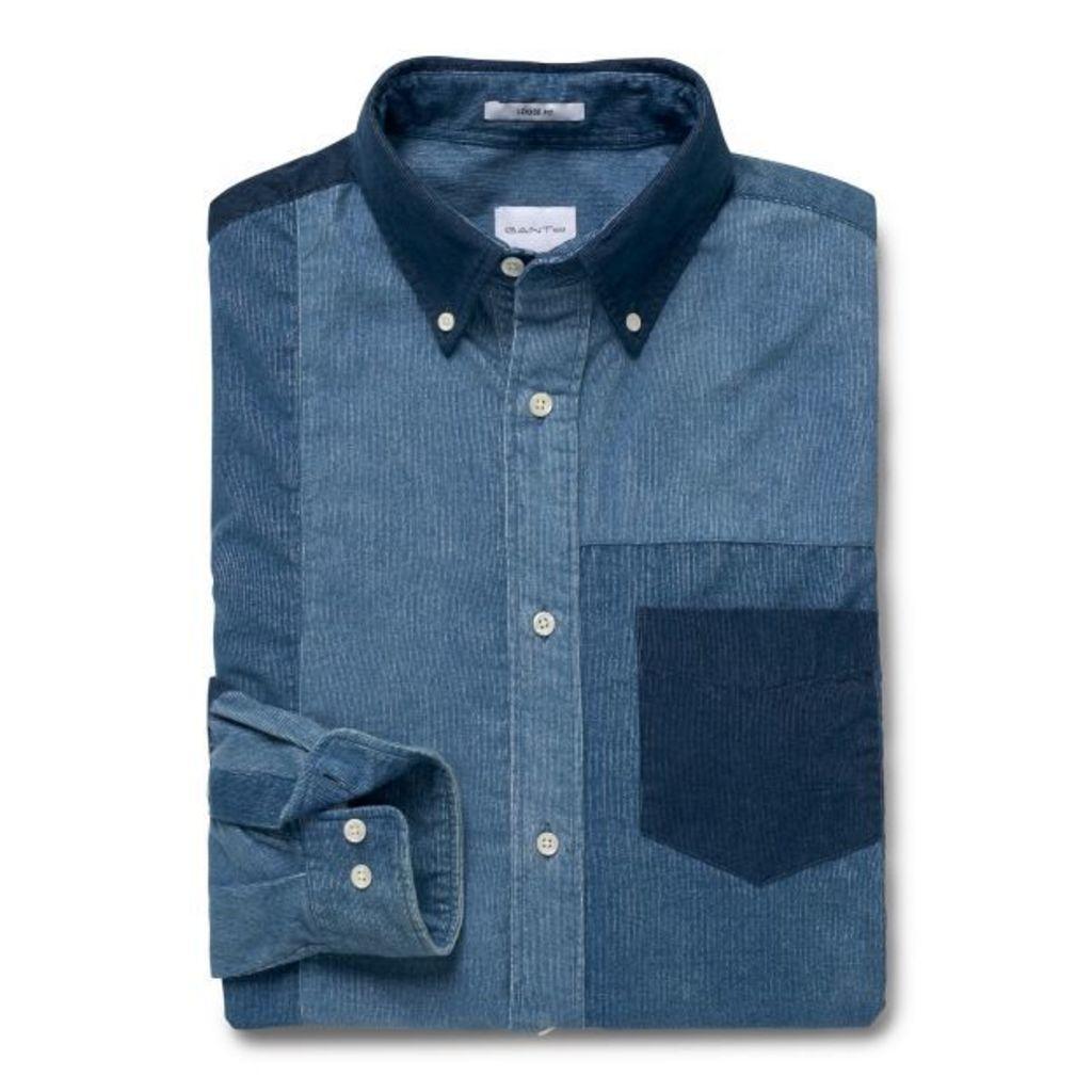 87d96596849 Loose Fit Patchwork Indigo Corduroy Shirt - Dark Indigo by Gant ...