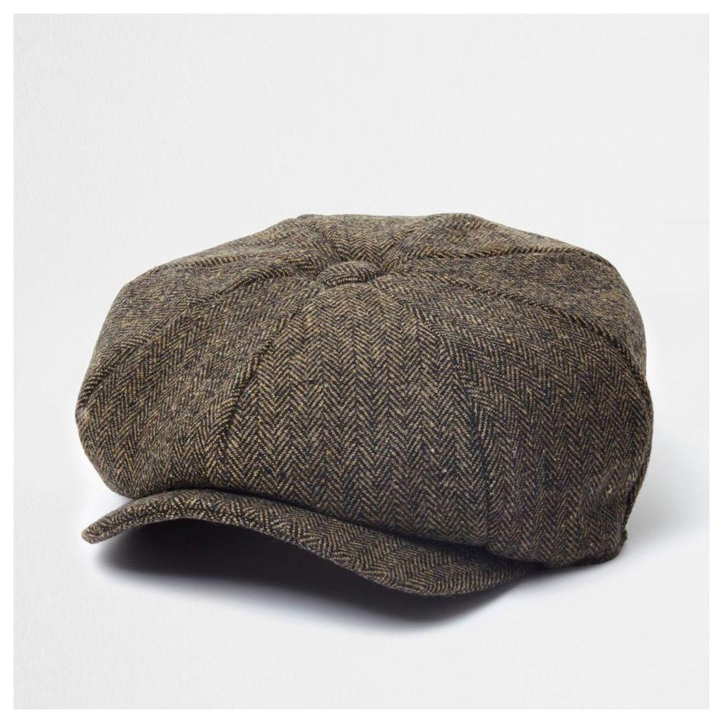 54842a7c1 River Island Mens Brown herringbone baker boy hat