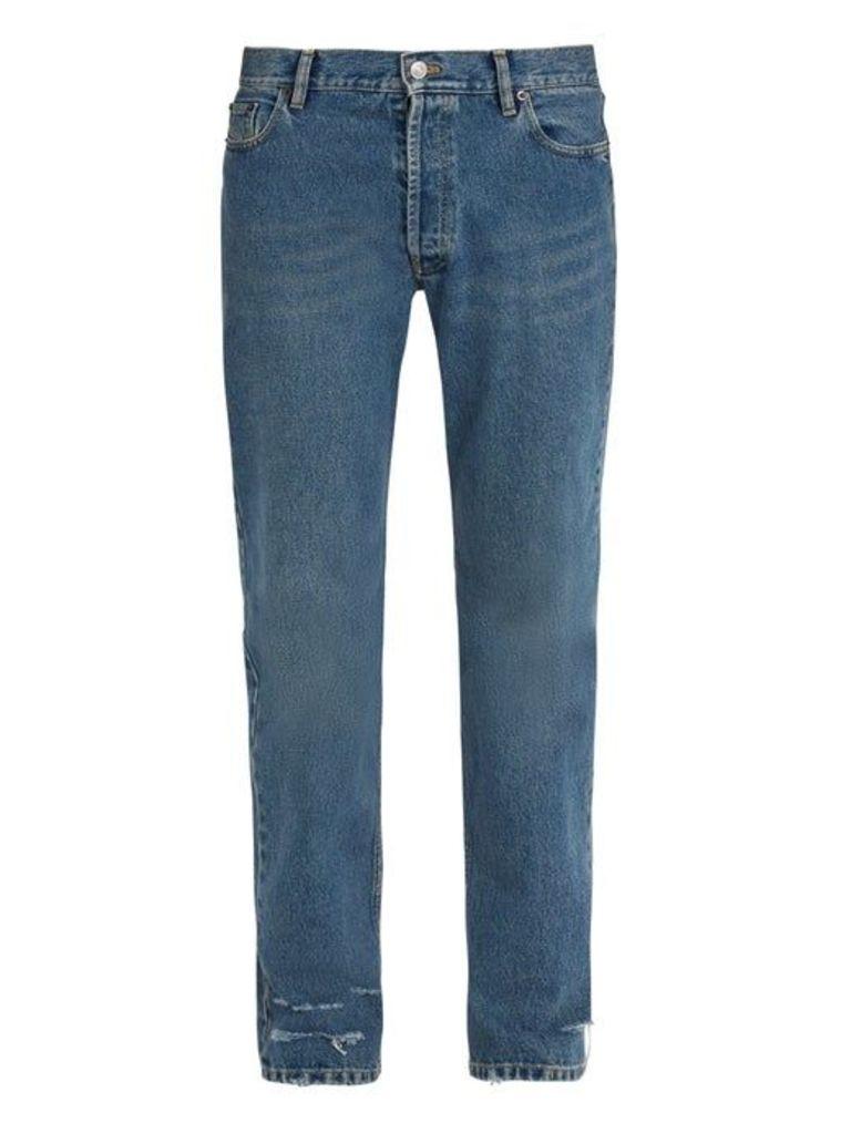 Balenciaga - Distressed Straight Leg Jeans - Mens - Denim