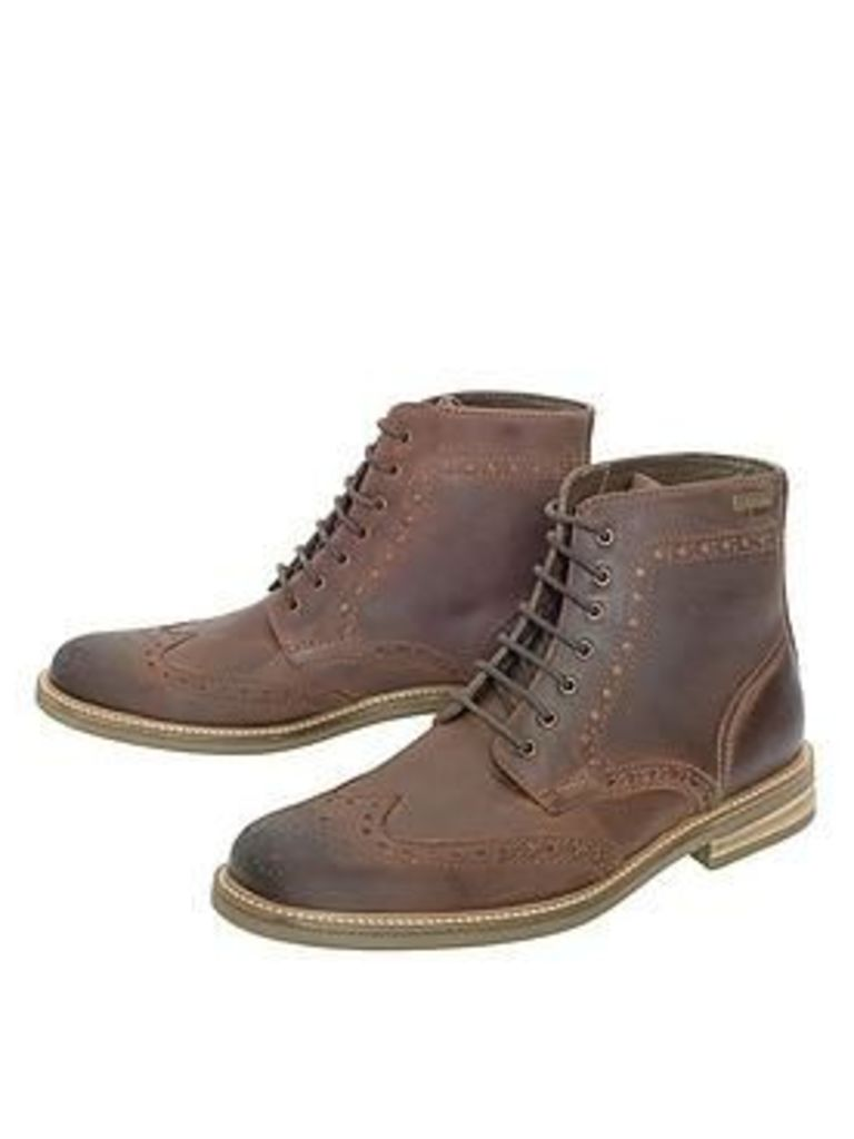 43e59835925 Barbour Belsay Brogue Boot, Dark Tan, Size 8, Men by Barbour | Snap ...