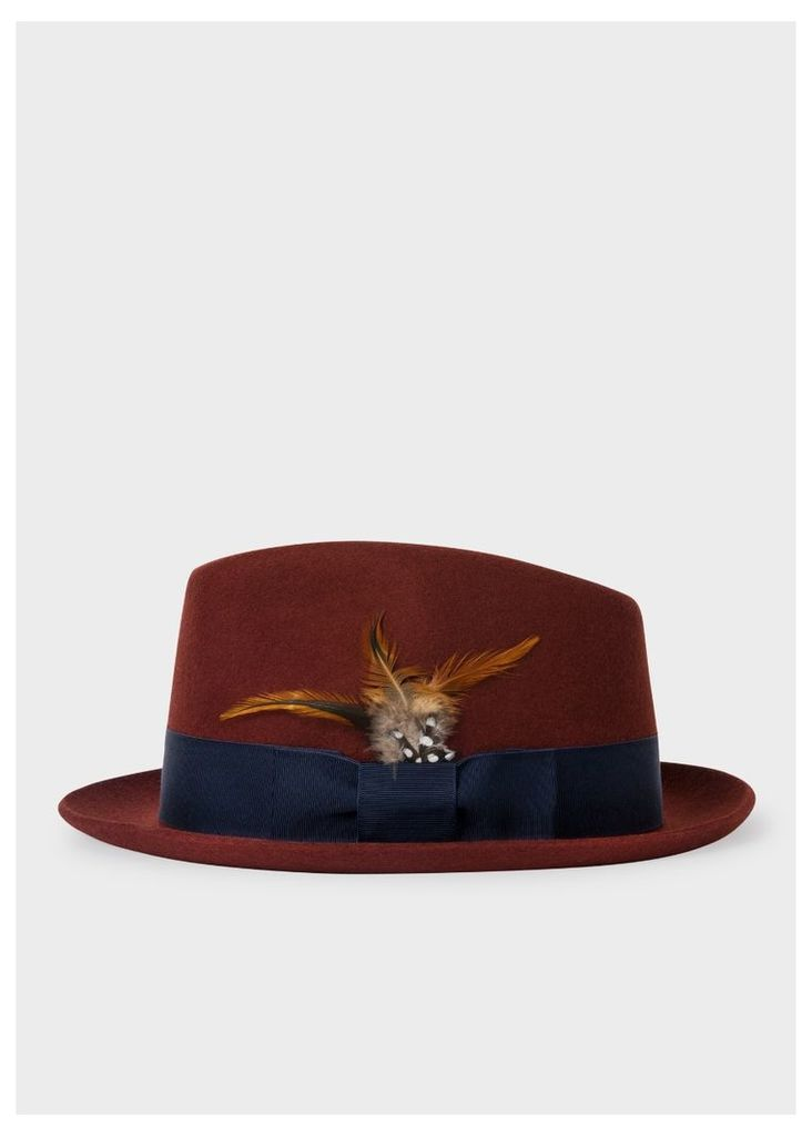 1330518349fa8 Men s Rust Brown Wool-Felt Trilby With Feather by Paul Smith