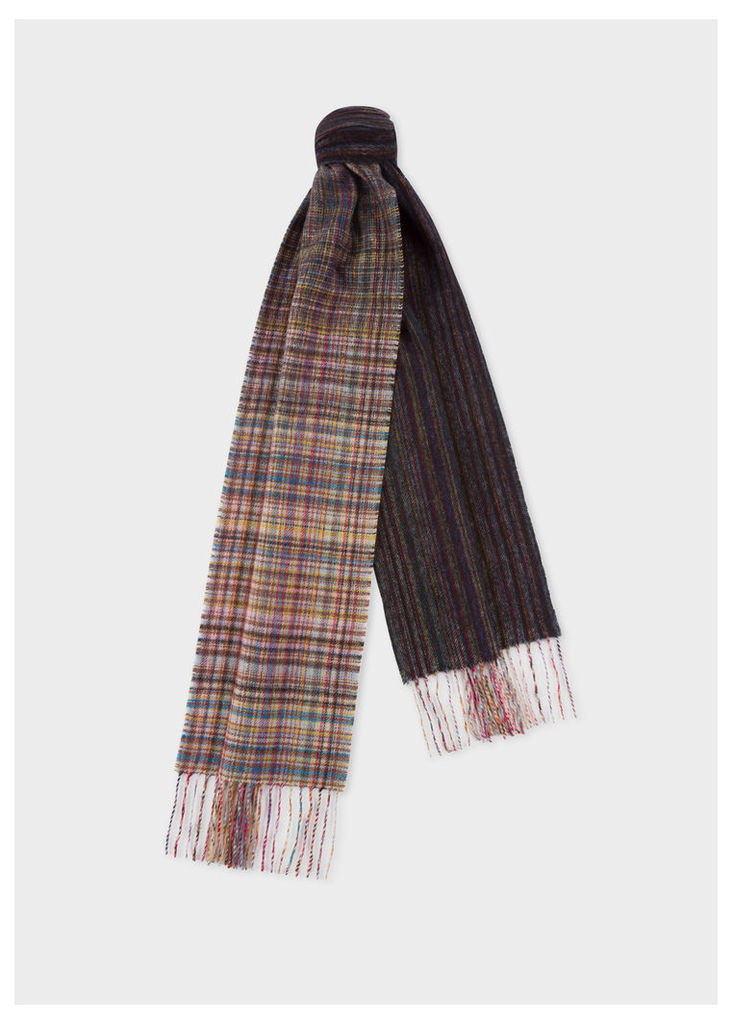 Men's Mixed Signature Stripe And Check Wool Scarf