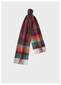 Men's Damson 'Artist Stripe' Check Lambswool Scarf