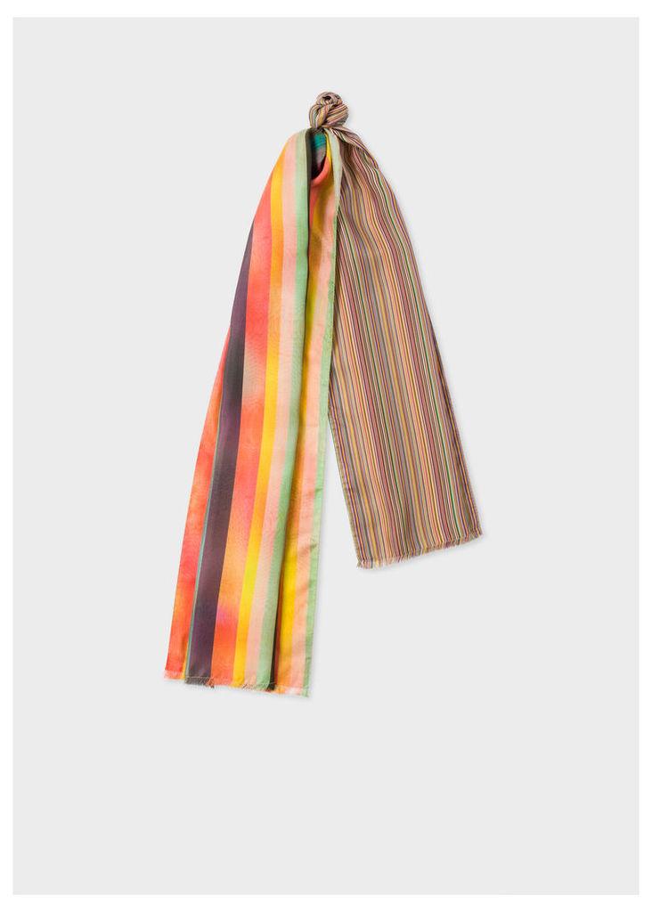 Men's Mixed-Stripe Silk Scarf