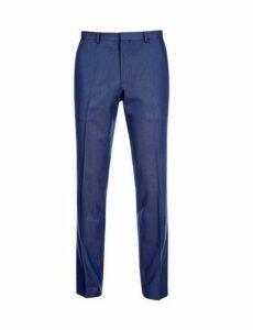 Mens Royal Blue Pindot Slim Fit Trousers, Blue