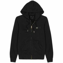 True Religion Black Hooded Cotton Sweatshirt