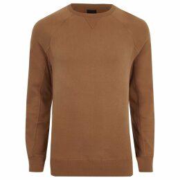 Mens River Island Tan muscle fit long sleeve sweatshirt