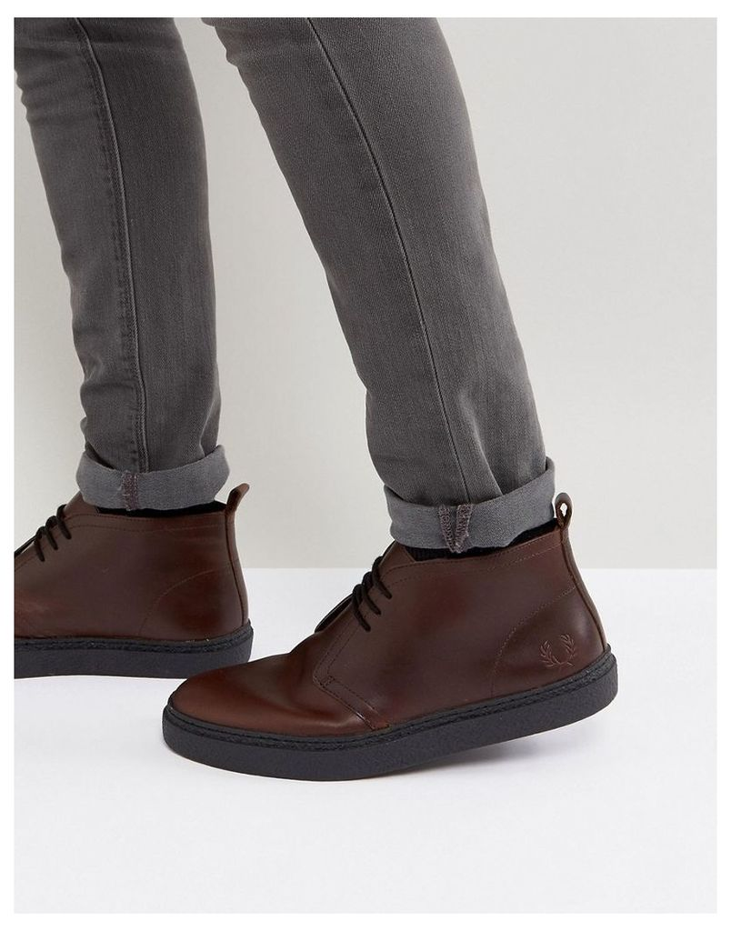 6d9d021534c Fred Perry Hawley Mid Leather Desert Boots in Dark Brown - Chestnut
