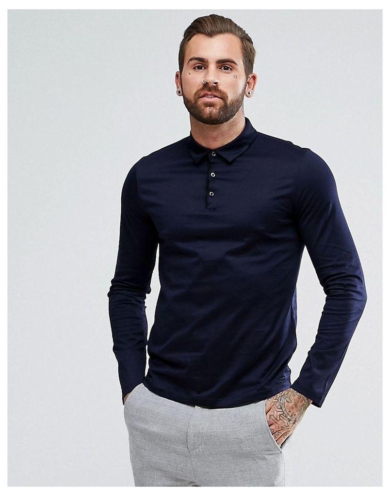 1cb5d205 HUGO by Hugo Boss Demons Slim Fit Mercerised Long Sleeve Polo Shirt in Navy  - Navy