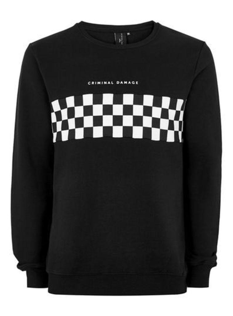 4d14294661 Mens CRIMINAL DAMAGE X TOPMAN Black And White Checkerboard Sweatshirt