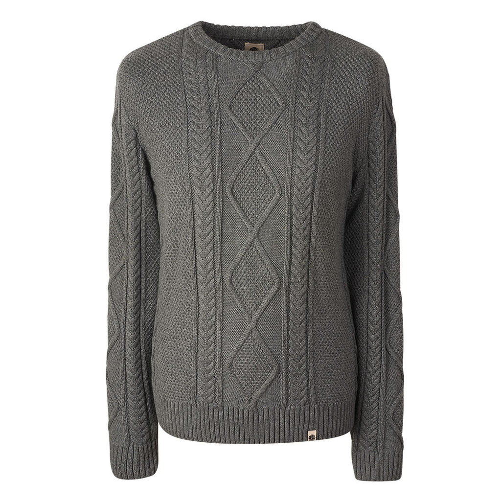 934e1f590249 Pretty Green Men s Fisherman Cable Knit Jumper - Grey - XXL by ...