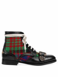 Gucci Tartan Queercore brogue boot - Black