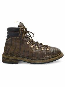 Guidi crocodile textured boots - Brown