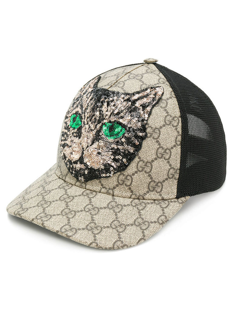 738e965231a Gucci GG Supreme Mystic Cat baseball hat - Nude   Neutrals by Gucci ...