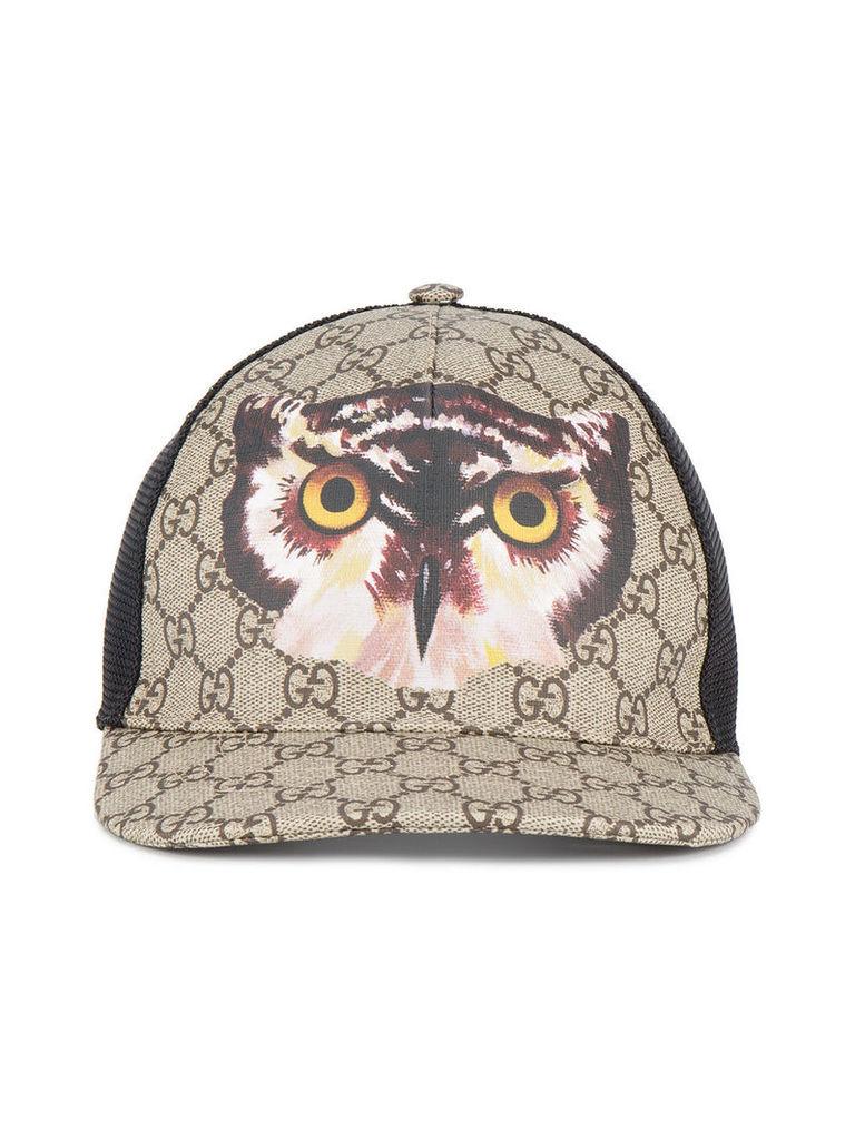 71a043c8da5 Gucci Owl print GG Supreme baseball hat - Brown by Gucci