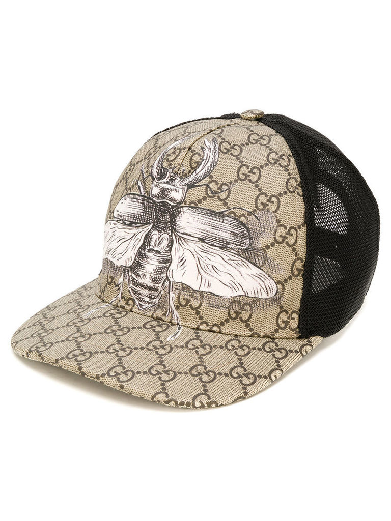 832f11e4596 Gucci insect print GG Supreme baseball hat - Nude   Neutrals by ...