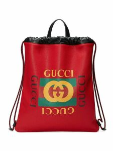 Gucci Gucci Print leather drawstring backpack - Red