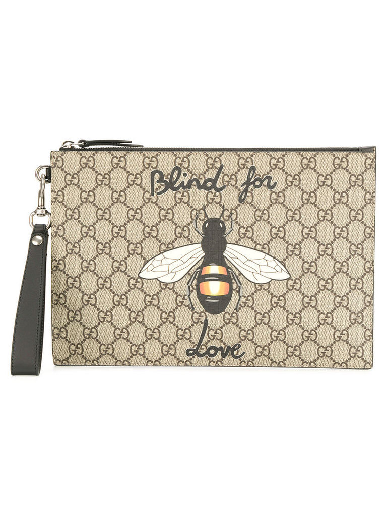 f02a7cda02f6 Gucci GG Supreme pouch with bee - Nude & Neutrals by Gucci | Snap ...