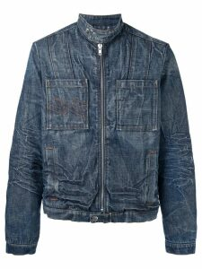 Walter Van Beirendonck Pre-Owned washed denim jacket - Blue