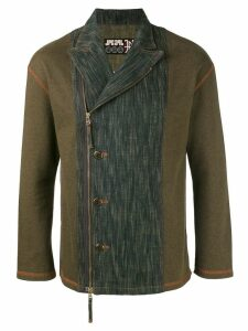 Jean Paul Gaultier Pre-Owned washed denim panel biker jacket - Green