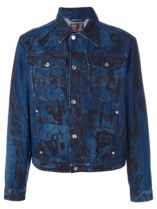Walter Van Beirendonck Pre-Owned screen print denim jacket - Blue
