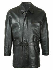 Comme Des Garçons Pre-Owned midi belted leather jacket - Black