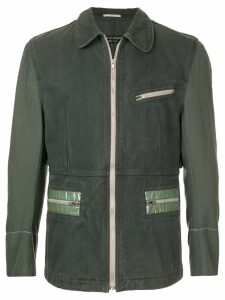 Comme Des Garçons Pre-Owned rounded collar zipped jacket - Green