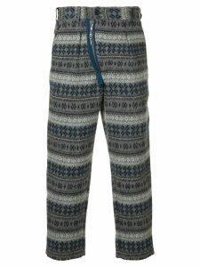 Yohji Yamamoto Pre-Owned thick patterned trousers - Grey