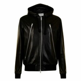 Maison Margiela Zip Hooded Leather Jacket