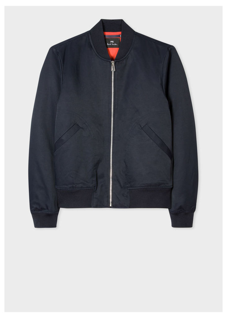 Men's Navy Cotton-Blend Wadded Bomber Jacket