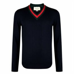 Gucci Web Trim Knit Sweatshirt