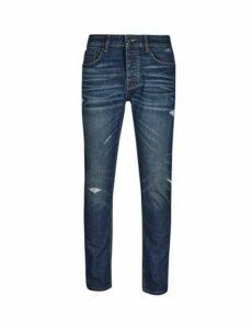 Mens Vintage Blue Blake Slim Fit Rip And Repair Jeans, Blue